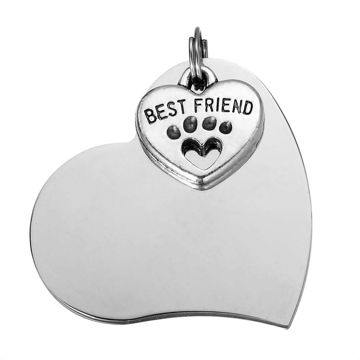 HooAMI Pet ID Tag Dog Tag Cat Tag -BEST FRIEND Dog Paw Heart Charm Stainless Steel Heart Shape
