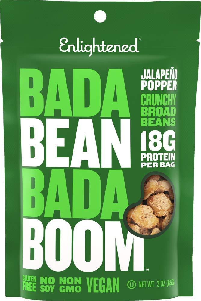 Bada Bean Bada Boom - Plant-Based Protein, Gluten Free, Vegan, Crunchy Roasted Broad (Fava) Bean Snacks, 100 Calories per Serving, Jalapeno, 3 oz, 6 Pack