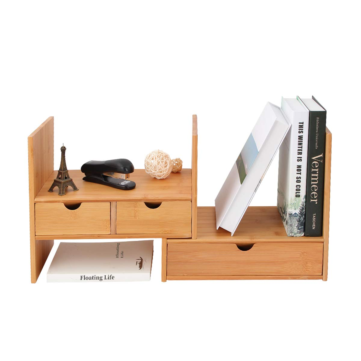 Homode Desk Organizer with Drawers, Adjustable Bamboo Wood Desktop Bookshelf Office Supplies Display Shelves (Natural) by Homode