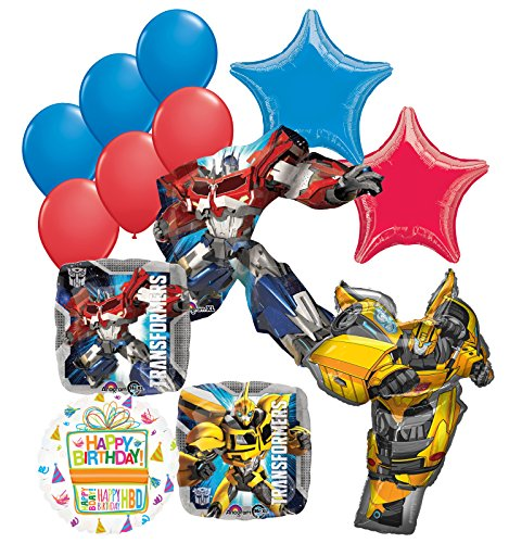 Mayflower Products Transformers Birthday Party Supplies 13pc Optimus Prime Bumble Bee Balloon Bouquet Decorations ()