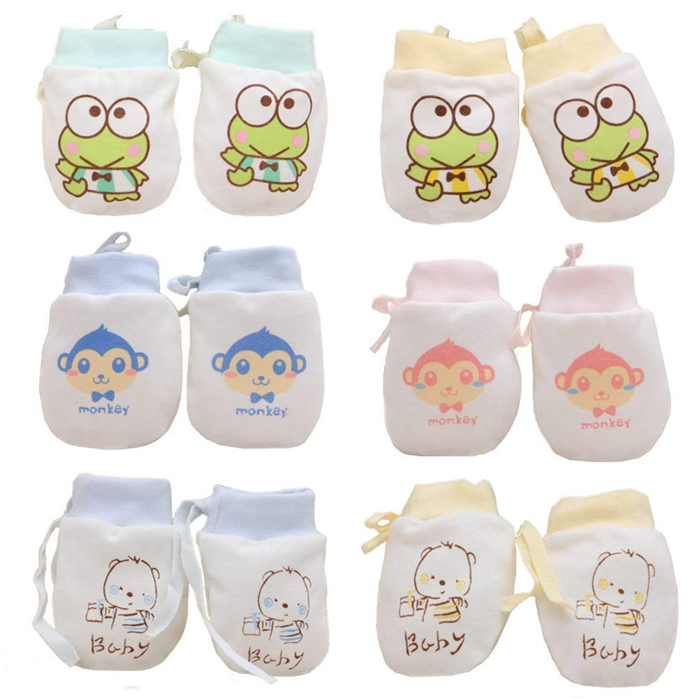 Ademoo Baby Boy Mittens Toddler Infants Organic Cotton No Scratch Soft Breathable Gloves with Drawstring