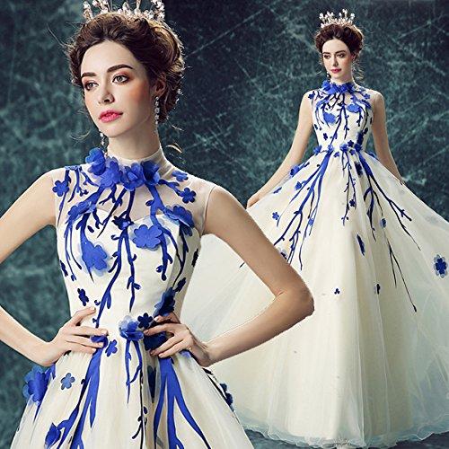 Robe Cou Avec Soirée Fleur Sans Banquet Mariée Bleu Goddess 2 De Haut Sun Robe 4 Doux Manches Mariée De Blanche Longue EwaOXtq