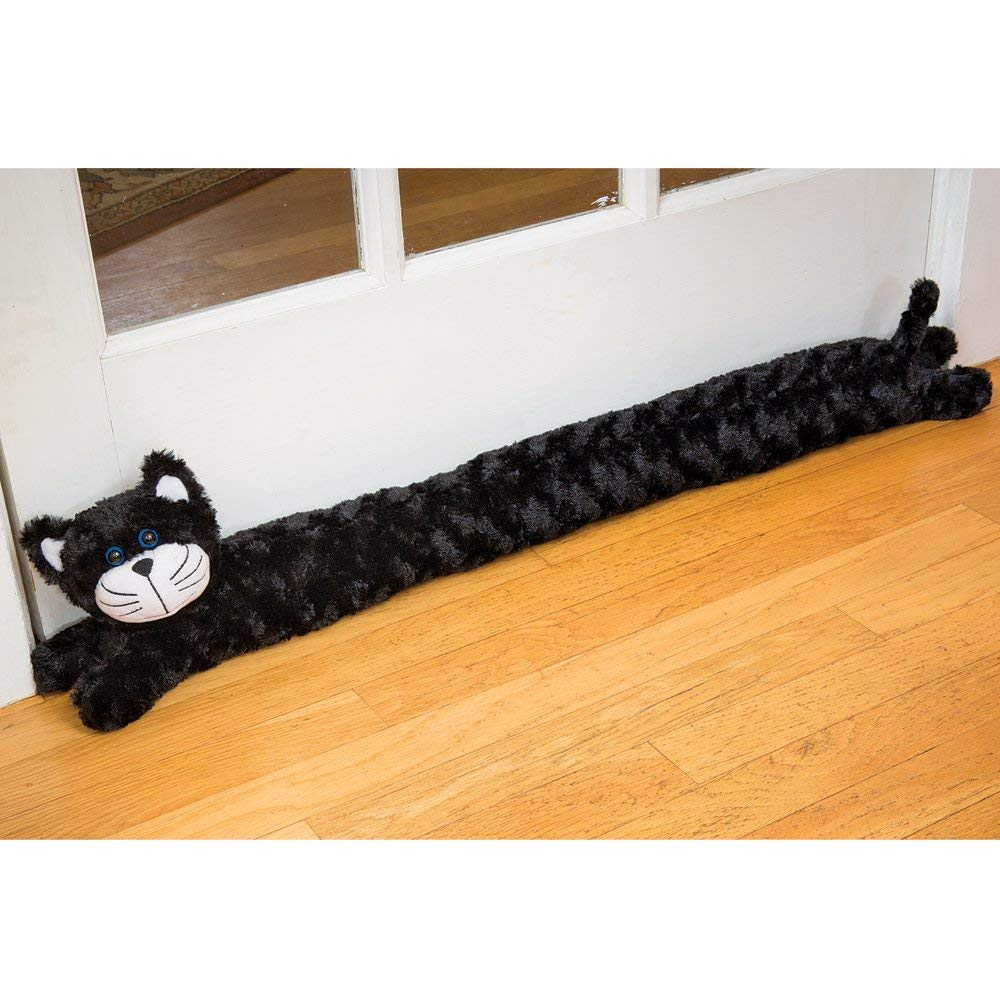 Bits and Pieces - Plush Cat Door Draft Excluder - Door and Window Breeze Guard - Keep Heat in and Cold Out Melville Direct