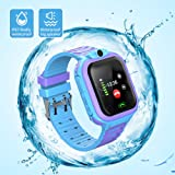 AMERTEER Kids smartwatch waterproof with LBS/GPS tracker smart watch phone 3-12 SOS camera for boys girls Christmas gifts game watches(blue+purple)
