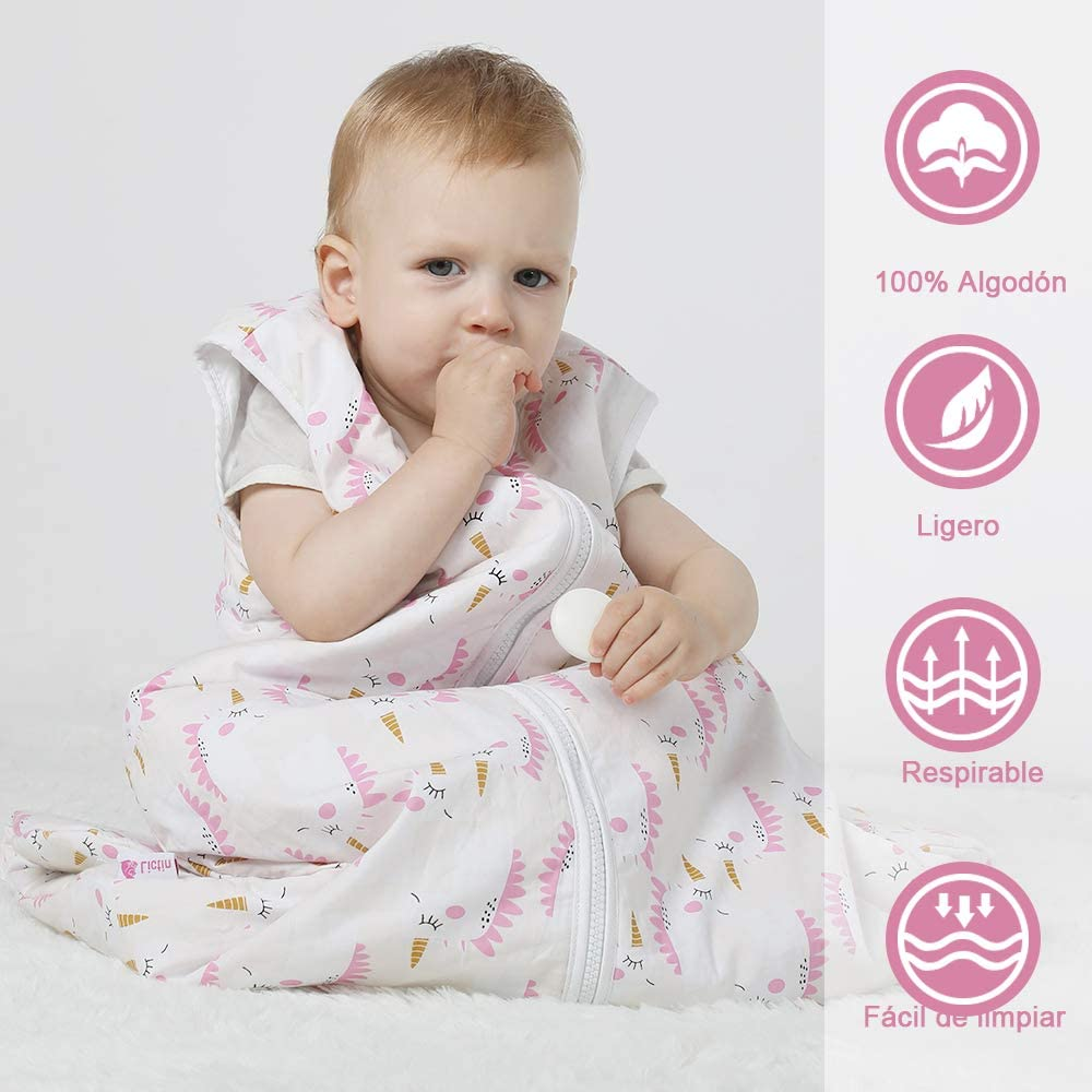 One Size Pink Licitn Baby Sleeping Bag Adjustable Length for Babies 2.5 Tog Unisex Cotton Sleeping Bag for Babies