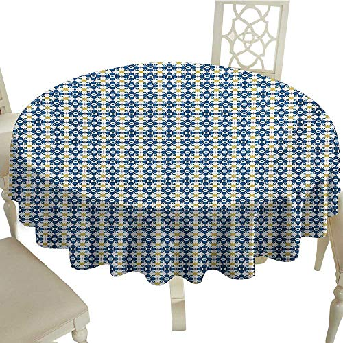 Cranekey Fabric Tablecloth 70 Inch Ethnic,Tile Illustration in Traditional Style Portuguese Azulejo Cultural Heritage,Blue Yellow White Great for,Holiday & More -