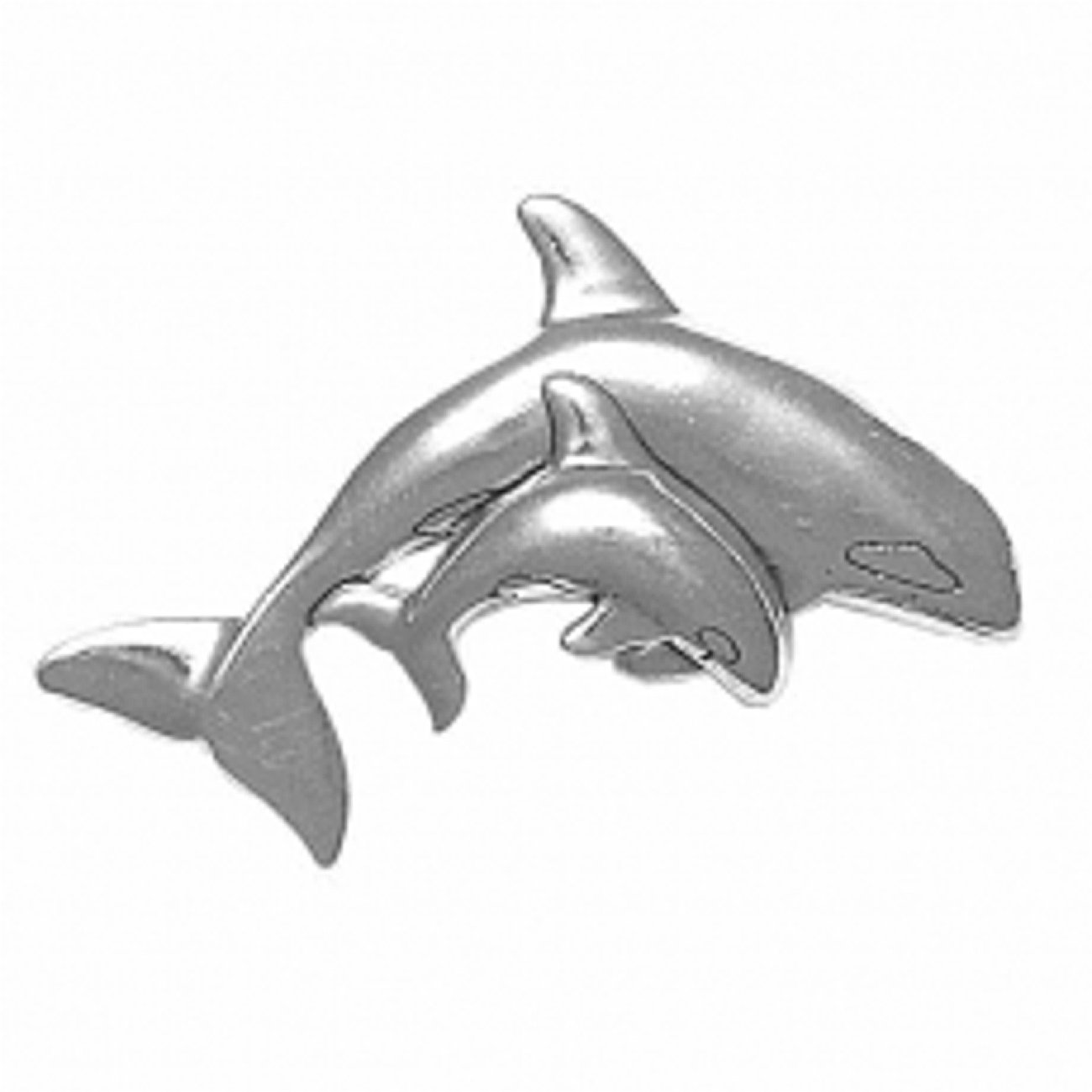 Sterling Silver Girls .8mm Box Chain Partially 3D Killer Whale Baby Calf Pendant Necklace