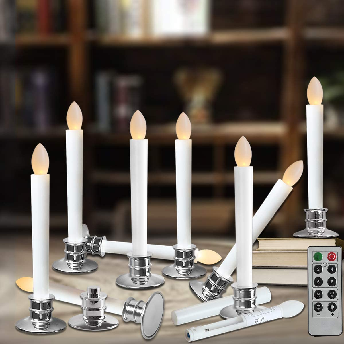 Amazon Com Window Candles With Remote Timers Battery Operated Flickering Flameless Led Electric Candle Lights With Removable Tapers Pillar Candle Holders For Christmas Decorations 10pcs Silver Base Home Kitchen