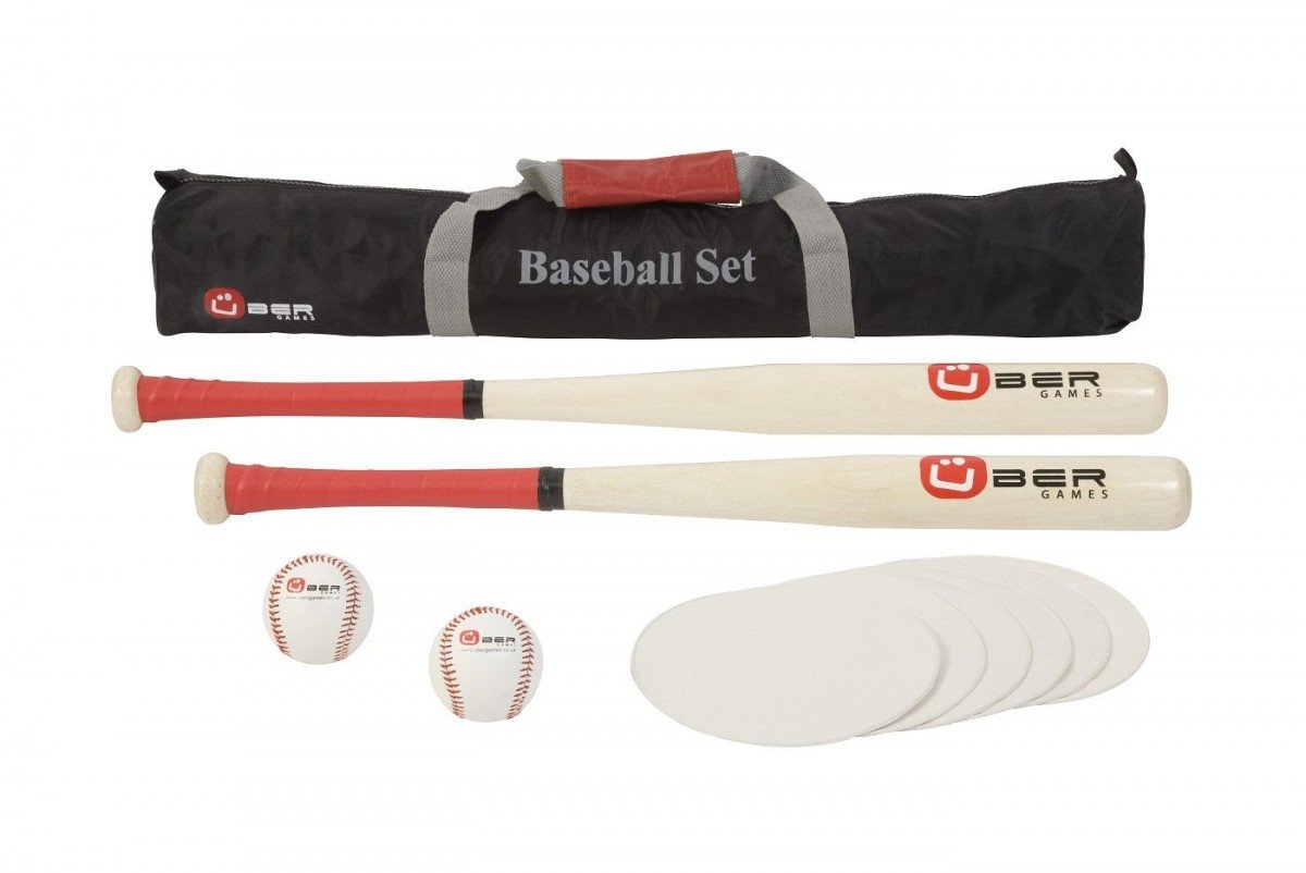 Übergames Baseball Set aus hochwertigem ECO-Holz - 2 Schläger, 2 Bälle, 4 Bases, Transport Tasche
