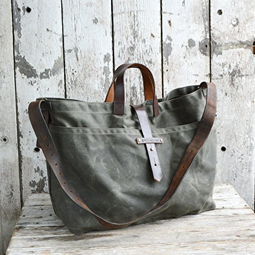 Large Waxed Canvas Tote by Peg and Awl