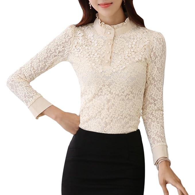 Zhhlaixing Moda Elegante Cordón Womens Shirt Floral Patrón Collar del Soporte Delgado Camisa de Las Mujeres