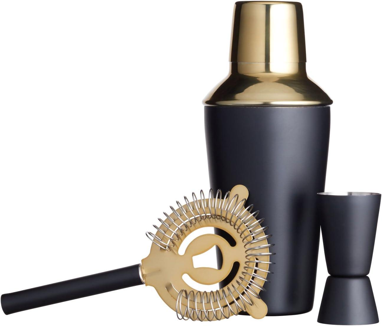Cucchiaio e Libro di ricette con confezione regalo luxury Misurino Strainer Rusty Barrel Mayfair Cocktail Shaker Set Shaker Grande Manhattan Style in acciaio INOX Pestello in legno Versatore