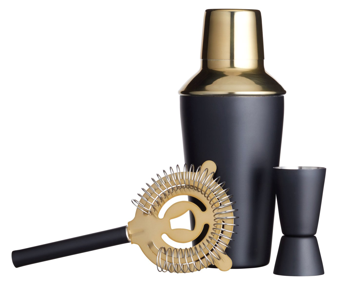 Barcraft Luxury Stainless Steel Cocktail Making Kit - Brass Finish (3-piece