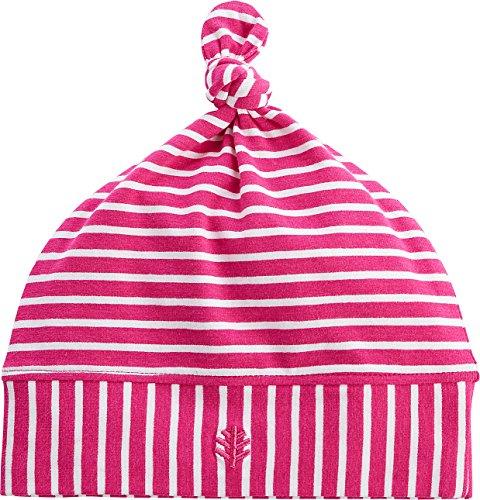 Coolibar UPF 50+ Baby Beanie Hat - Sun Protective (0-6 Months- Magenta/White - Block Knit Beanie Reversible