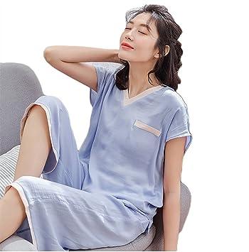 RZ.hs mujer sexy seda conjunto de pijamas señoras 2 piezas manga corta cuello en