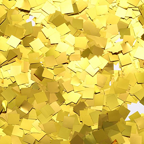 TecUnite Gold Foil Square Table Confetti Sparkle Metallic Confetti for Wedding Party Supplies, 1.76 (Gift Bag Balloon Weight)