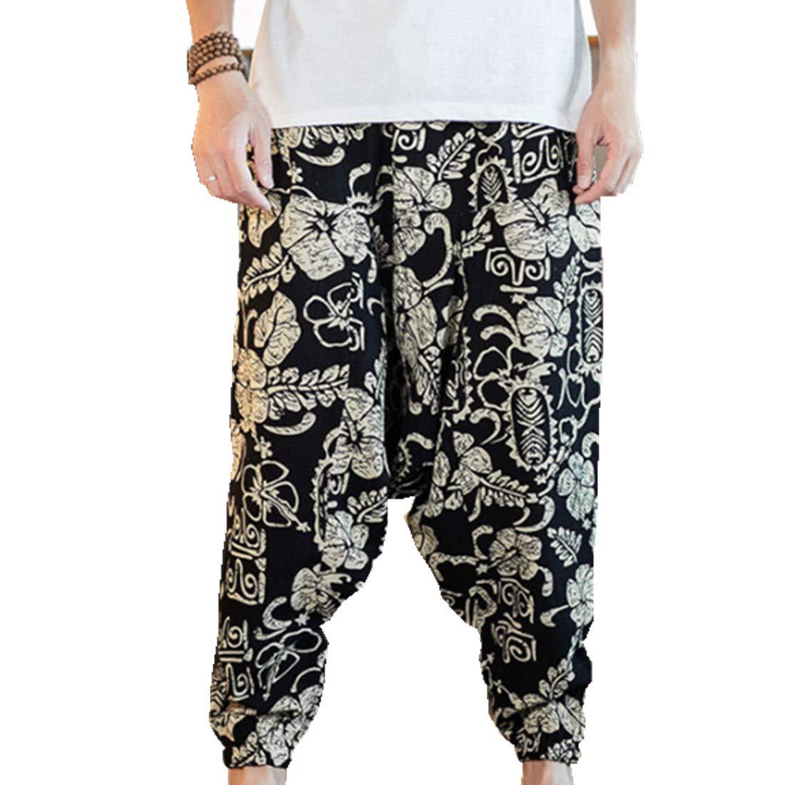 Hzcx Fashion Men's Vintage Cotton Blends Linen Drop Crotch Jogging Harem Pants DSC229-DK69-60-MG-US M TAG XL