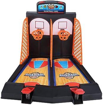 Garosa Juego De Baloncesto Mini Basket Ball Juego De Juguete De Tiro con El Dedo Doble Divertido Juego De Mesa Interactivo para Niños Familia: Amazon.es: Juguetes y juegos