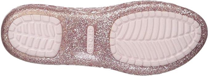 barely pink Crocs Women/'s//Girls/' Isabella Glitter Grade School Flat 6 M US
