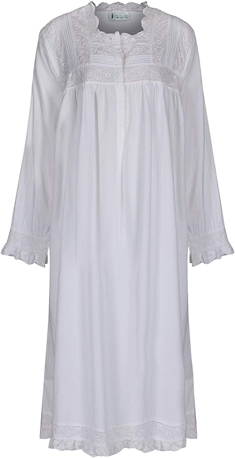 Victorian Nightgowns, Nightdress, Pajamas, Robes The 1 for U Henrietta 100% Cotton Victorian Nightgown with Pockets 7 Sizes $49.99 AT vintagedancer.com