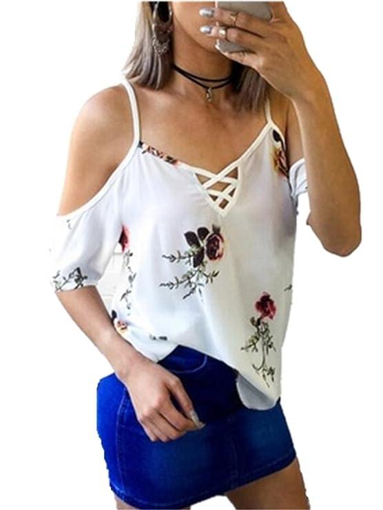 Camiseta de Mujer, 2018 Nuevas Ventas Calientes de Verano Impresión Floral Rose V-Neck Crossed Vendaje Fuera del Hombro Tanques Blusa con Tira Estrecha de ...
