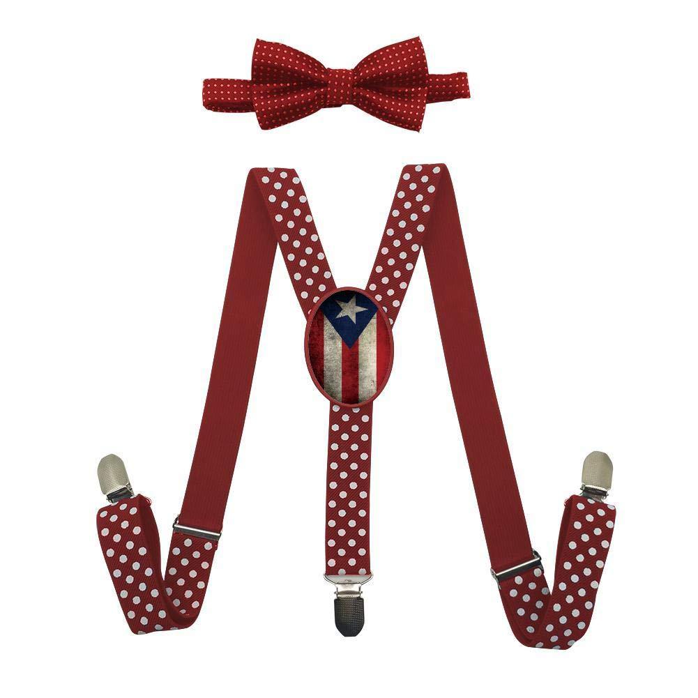 Qujki Puerto Rico Flag Vintage Suspenders Bowtie Set-Adjustable Length