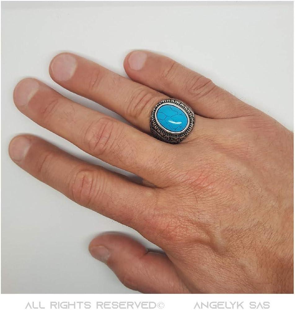 BOBIJOO Jewelry Bague Chevali/ère Homme Femme 22mm Turquoise Trisk/èle Acier 316L INOX Biker Triker Oval