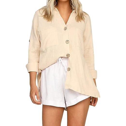 dcf6a0b9529ca3 NewlyBlouW Women Casual Shirts Summer Loose Button Shirt Long Sleeves Linen  Tops Soft Comfy Blouse Tee