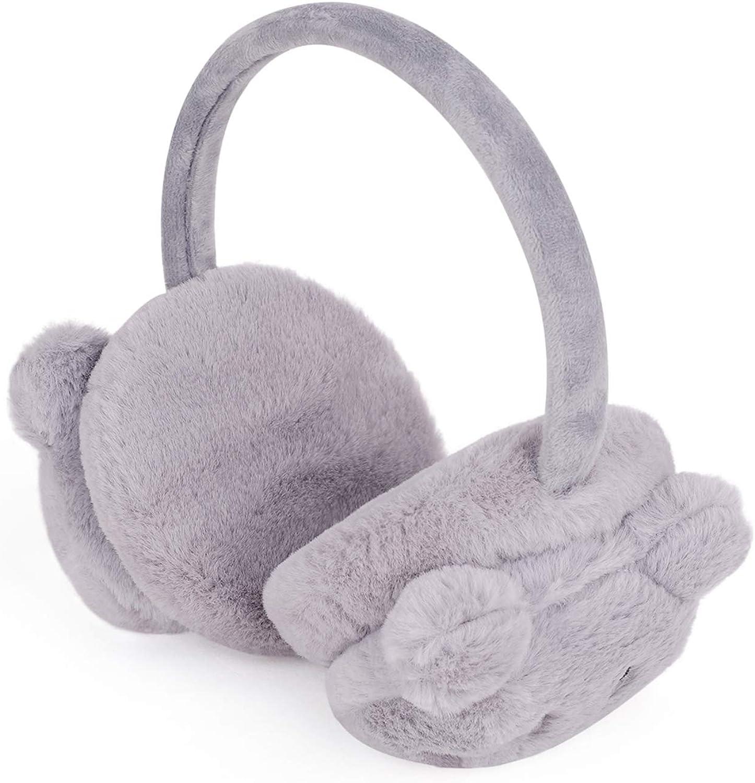 Kids Cartoon Mouse Earmuffs Boys Girls Faux Fur Ear Muffs Children Winter Windproof Ear Warmer Warm Adjustable Fluffy Ear Cover Cute Outdoor Thermal Ear muffle Soft Earflap Ear Protection for 5-10 Y