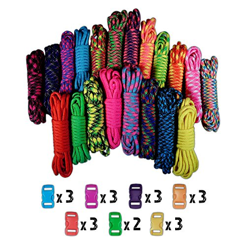 Craft County 550lb Type III Paracord Combo Crafting Kits with Buckles (Colored Buckle)