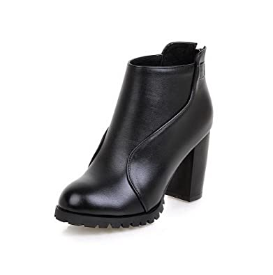 Women's Soft Leather Zipper Round Closed Toe High-Heels Low-top Boots