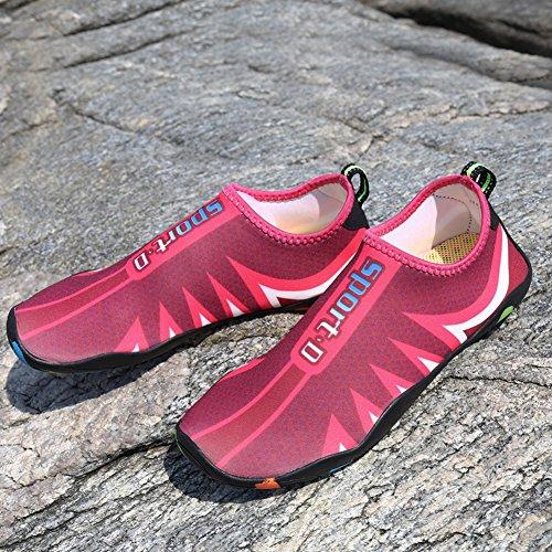 Beach On Socke Sea Rose Für Nass Surfen Woky Schuhe Aqua Schwimmen Pool Slip Schuhe Wasser Männer Red Schnell Trocknend Frauen xXwwqIY4