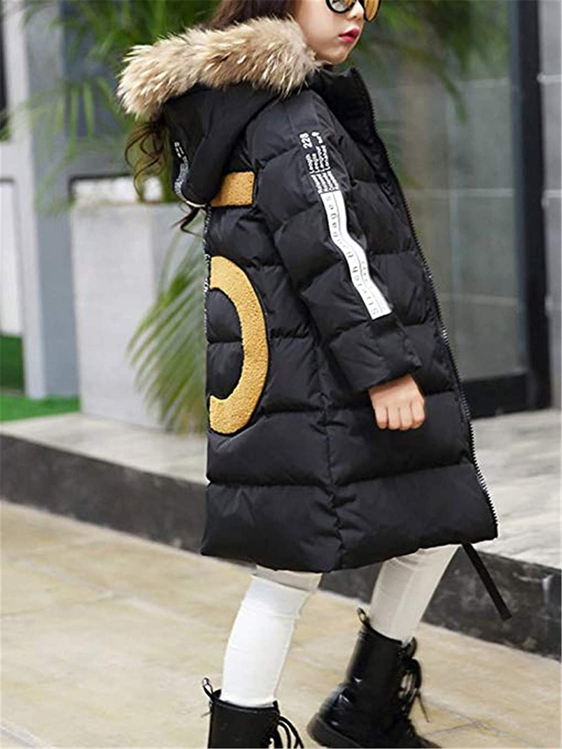 Hot 2018 Girls Winter New Cotton Jackets Girls Fashion Fur Collar Letters Coats Girl Thickening Hooded Warm Jacket Kids Clothes
