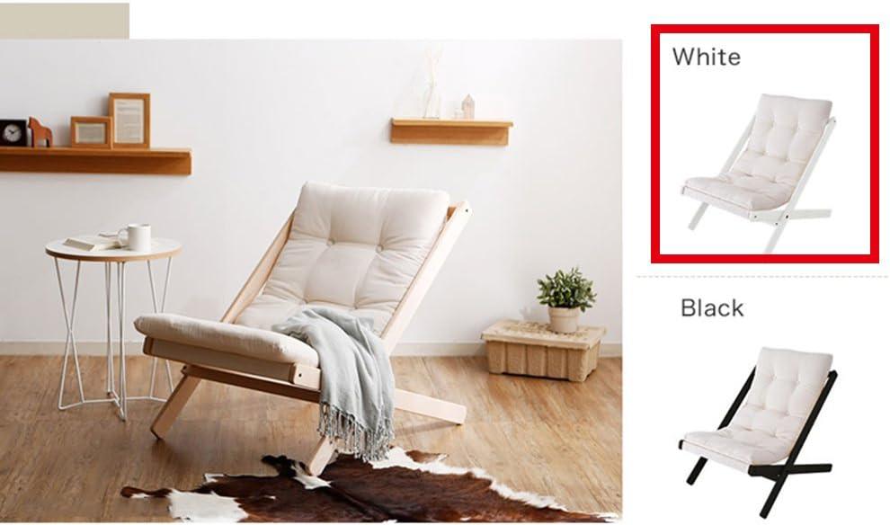 Tumbona Sofá Plegable de Madera Maciza Silla Plegable Estilo nórdico Silla de Haya (Color : Blanco, Tamaño : B)