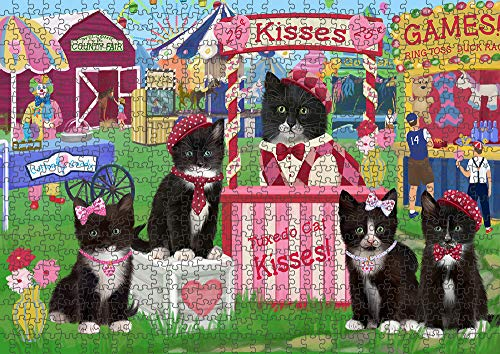 Doggie of the Day Carnival Kissing Booth Tuxedo Cats Puzzle with Photo Tin PUZL92388 (500 pc. 14