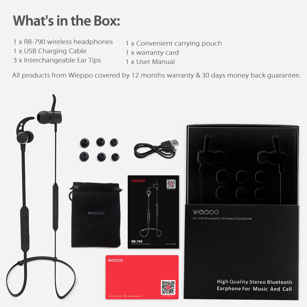 Wireless Headphones - Wieppo Bluetooth Headphones Wireless 4.2 Magnetic Earphones with MIC, Volume Control, Sweatproof Sport Earbuds In Ear for Running, Workout, 5Hrs Playtime, Multipoint, Secure Fit