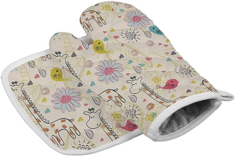 Hatmore Heat Resistant Waterproof Glove Insulation Hot Pan Mat Kitchen Cooking Tool for Microwave Oven Baking Barbeque Men Women 2Pcs/Set,Flowery Cute Giraffe Birds