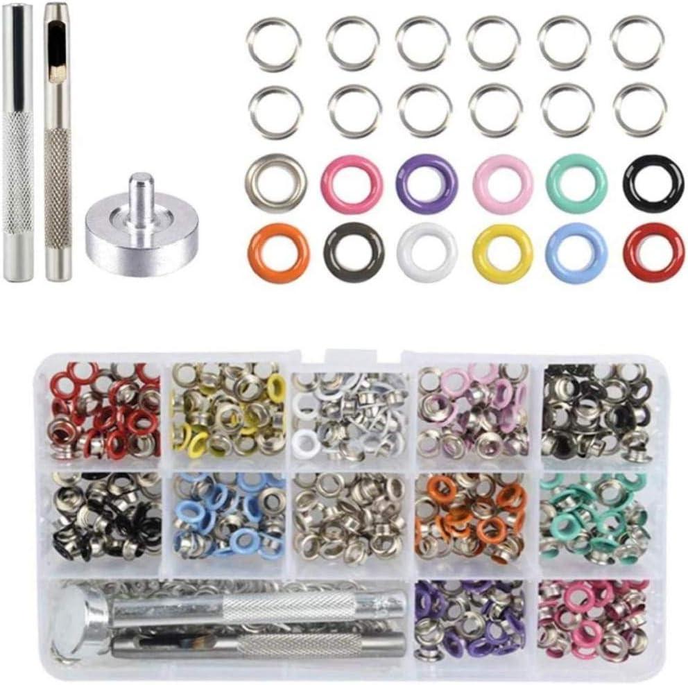 Kit de Metal Ojal, de Metal Ojales Ojales Kit 12 Ojal Herramienta de Configuración de Color con la Caja para Zapatos Ropa Bolsos de Cuero de la Lona DIY Crafts