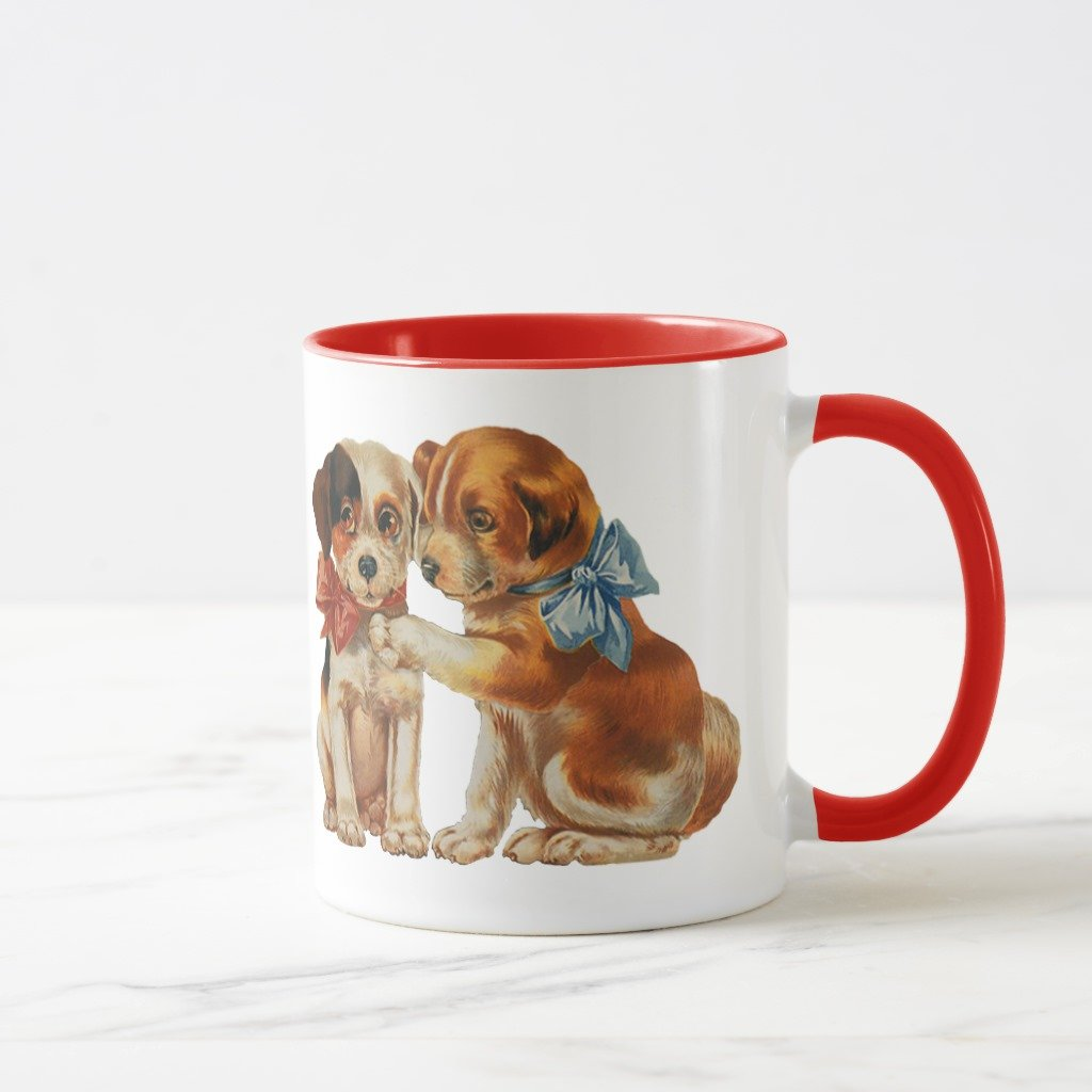 Zazzle Vintage Pet Animals, Puppy Love Puppies with Bows Coffee Mug, Red Combo Mug 11 oz