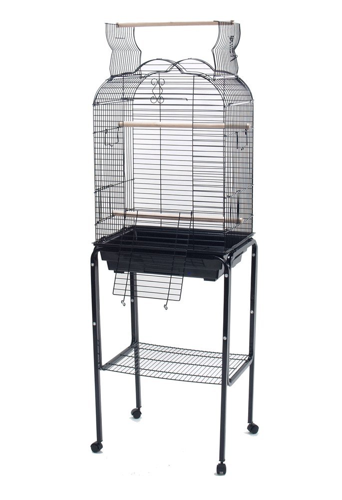 PetcageMart Parakeet Cockatiel Playtop Metal Bird Cage with Stand, 18'' by 14'' by 57'', Black by PetcageMart