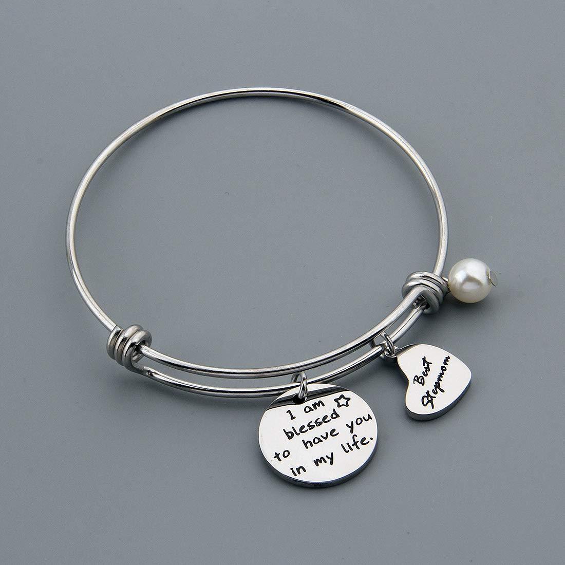 HOLLP Stepmother Gifts Stepmom Bracelet Adoption Jewelry Best Step Mother Adjustable Charm Bracelet