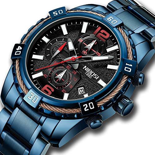 NIBOSI Men's Chronograph Quartz Watch with Stainless Steel Strap Blue Wristwatches for Men Calendar Date Watch