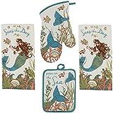 Kay Dee 4 Piece Kitchen Set - 2 Terry Towels, Oven Mitt, Potholder (Mermaid)