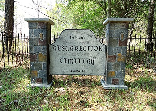 Evil Soul Studios Historic Resurrection Cemetery Entrance Sign Halloween Prop Double (Halloween Entrance Prop)