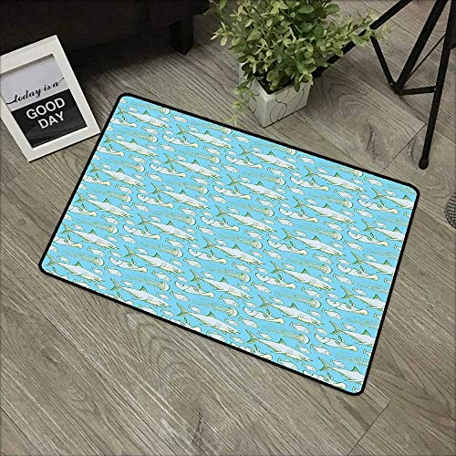 Interior Door mat W16 x L24 INCH Shark,Sea Creatures in Vintage Style Swimming Flatfish Stingray and Jellyfish,Pale Blue Grey Green Non-Slip, with Non-Slip Backing,Non-Slip Door Mat Carpet
