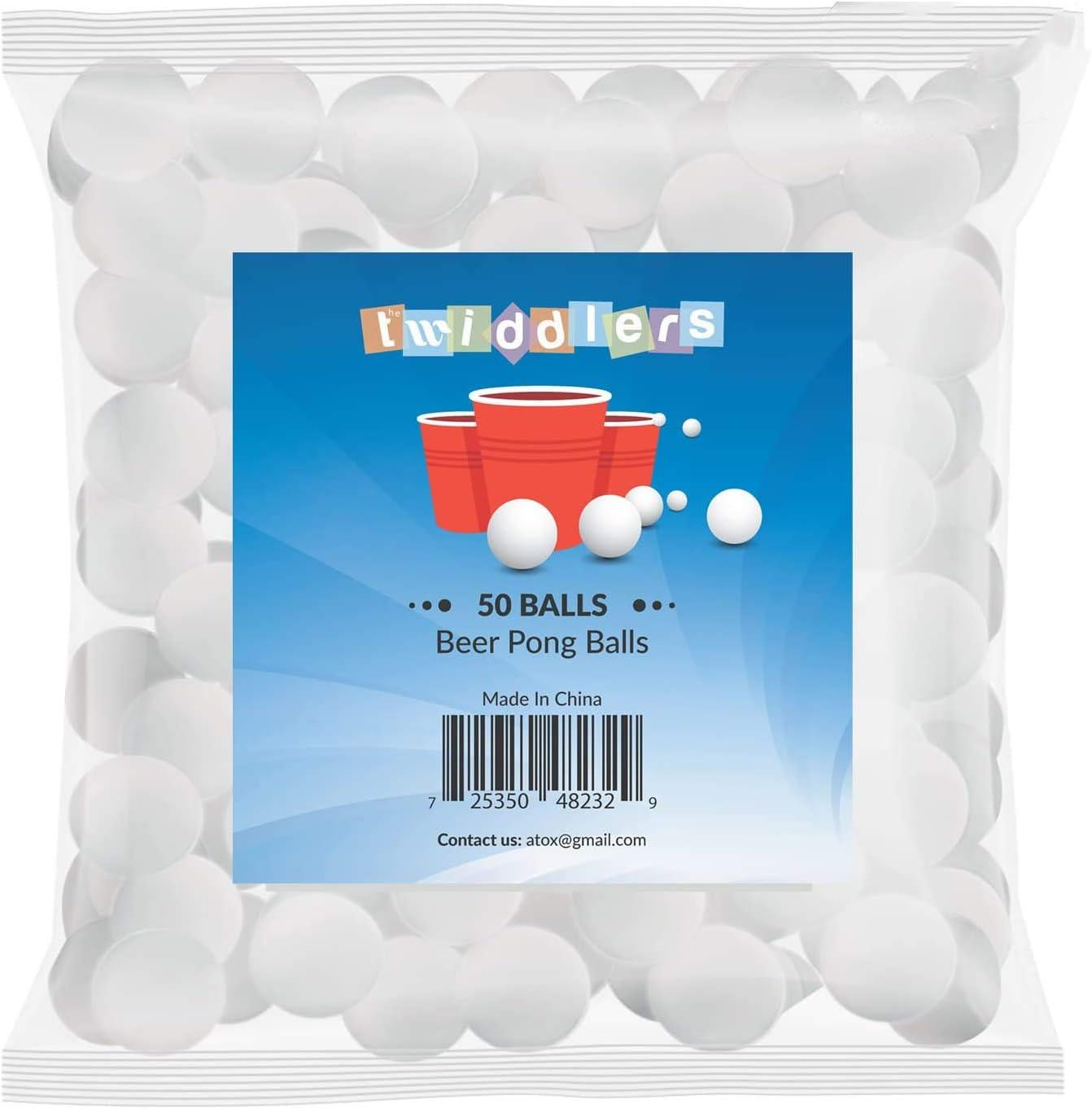 50 Bolas de Ping Pong o Tenis de Mesa – Pelotas Ideales para Juego Americano Beer Pong o Regalo – Accesorio de Entretenimiento y Diversión para Fiestas de Navidad, Cumpleaños - interiores y exteriores