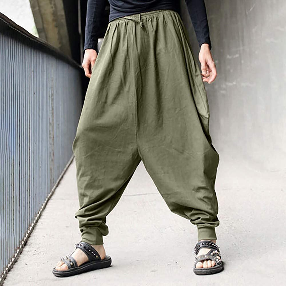 Mens Cotton Linen Baggy Boho Yoga Harem Pants Retro Gypsy Pants