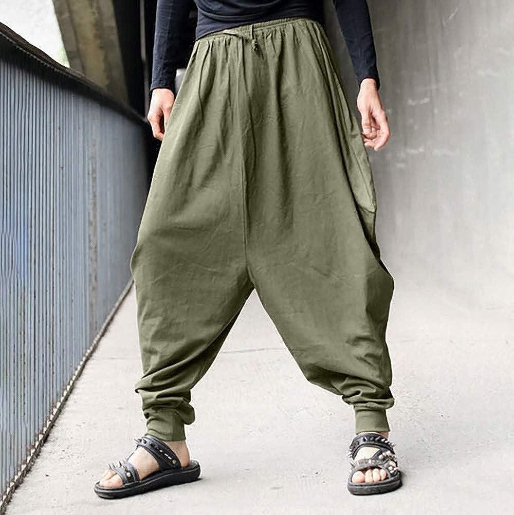 Fuibo Pantalon Homme Clearance Sarouel Taille Elastique Baggy Large Pantacourt Décontracté Lér Pantalon en LinÀ Jambe Large Lin Bloomers Pants Grande Taille S-3XL