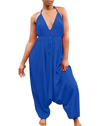 38d39ad30ca Amazon.com  Womens African Backless Sexy Deep V Neck Halter Spaghetti Strap Harem  Pants Jumpsuits Romper  Clothing
