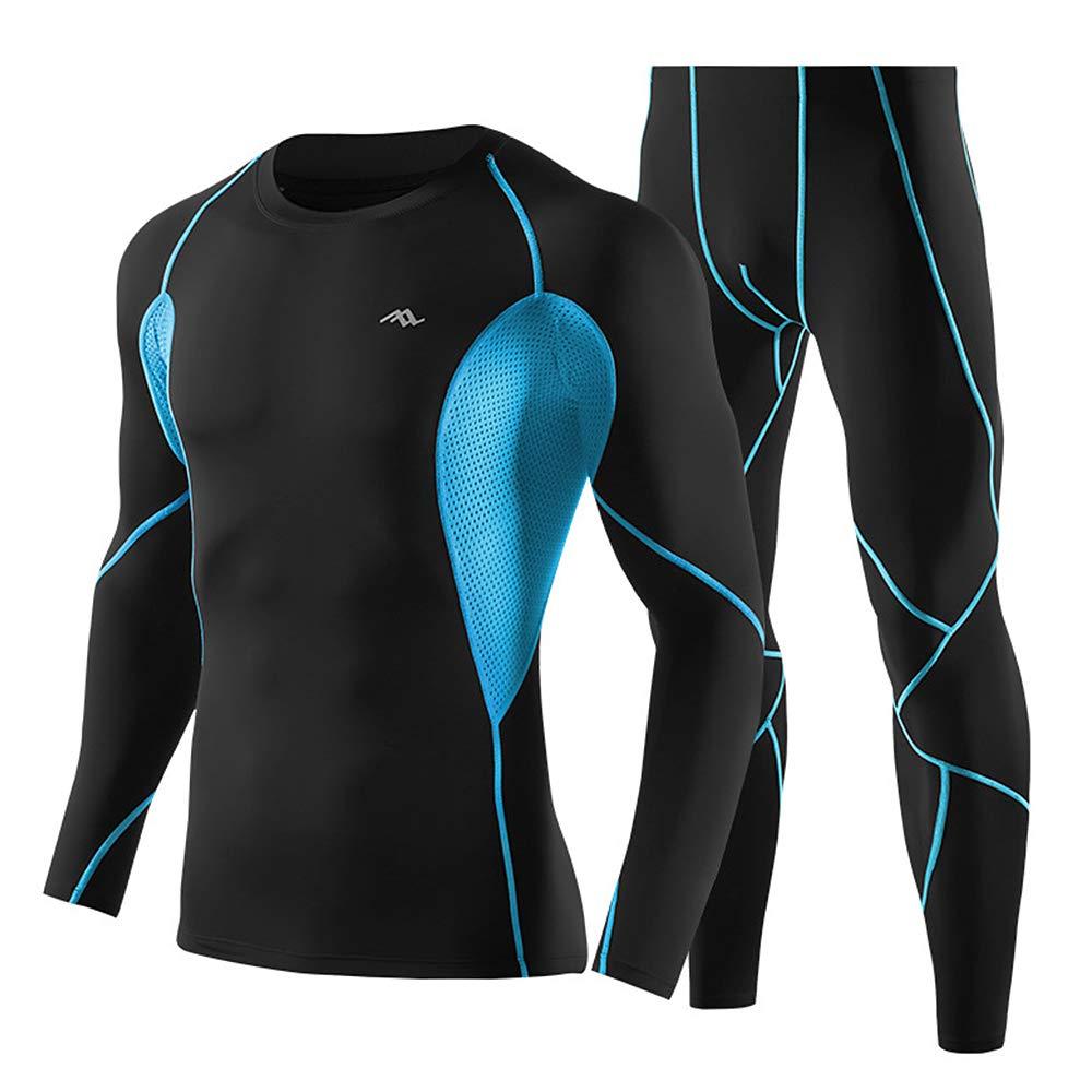 Lepeuxi Set di Abbigliamento da Allenamento per Uomo 2 Pezzi Camicia e Pantaloni a Compressione a Manica Lunga a Rapida Asciugatura Set da Ginnastica per Palestra